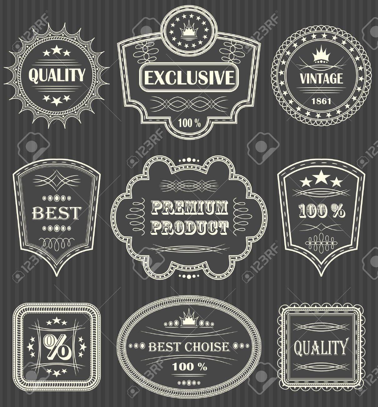 Vintage labels. Striped background Stock Vector - 14668668