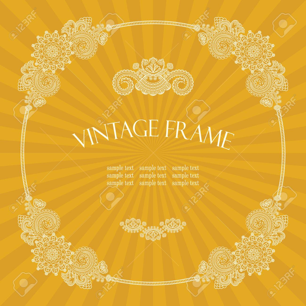 Vintage round frame with floral decoration on the background with rays Stock Vector - 14840350