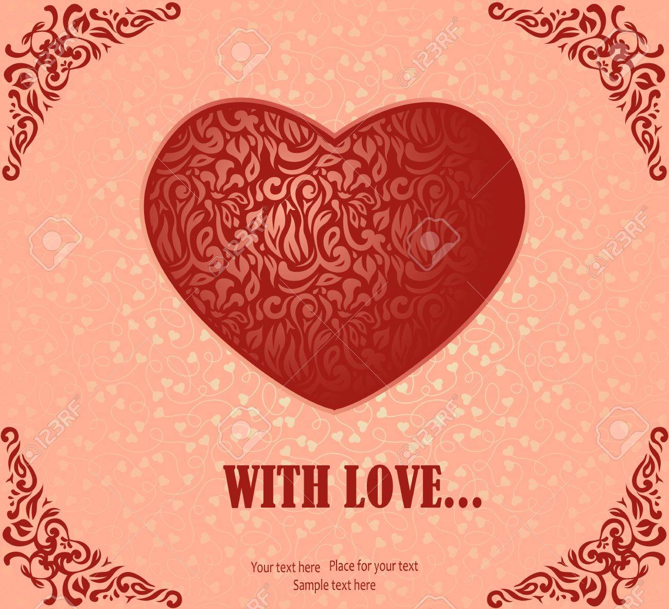 romantic greeting card with vintage heart on the day of lovers