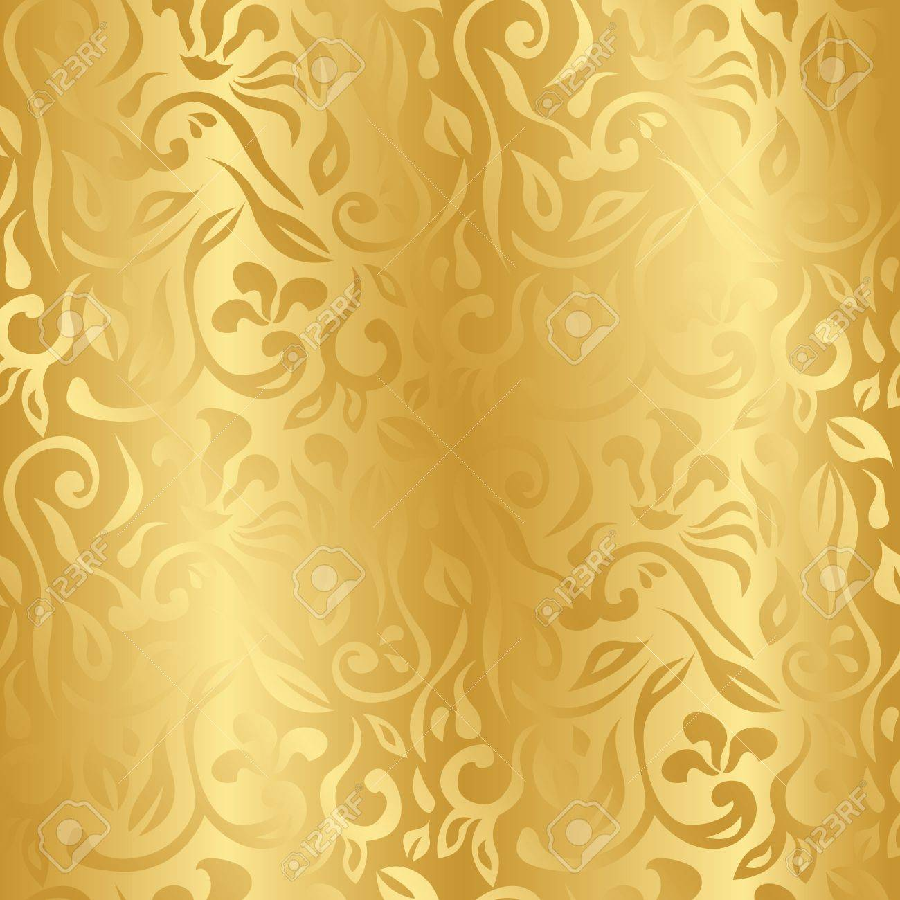 Seamless Vintage Floral Background In Gold Seamless Wallpaper