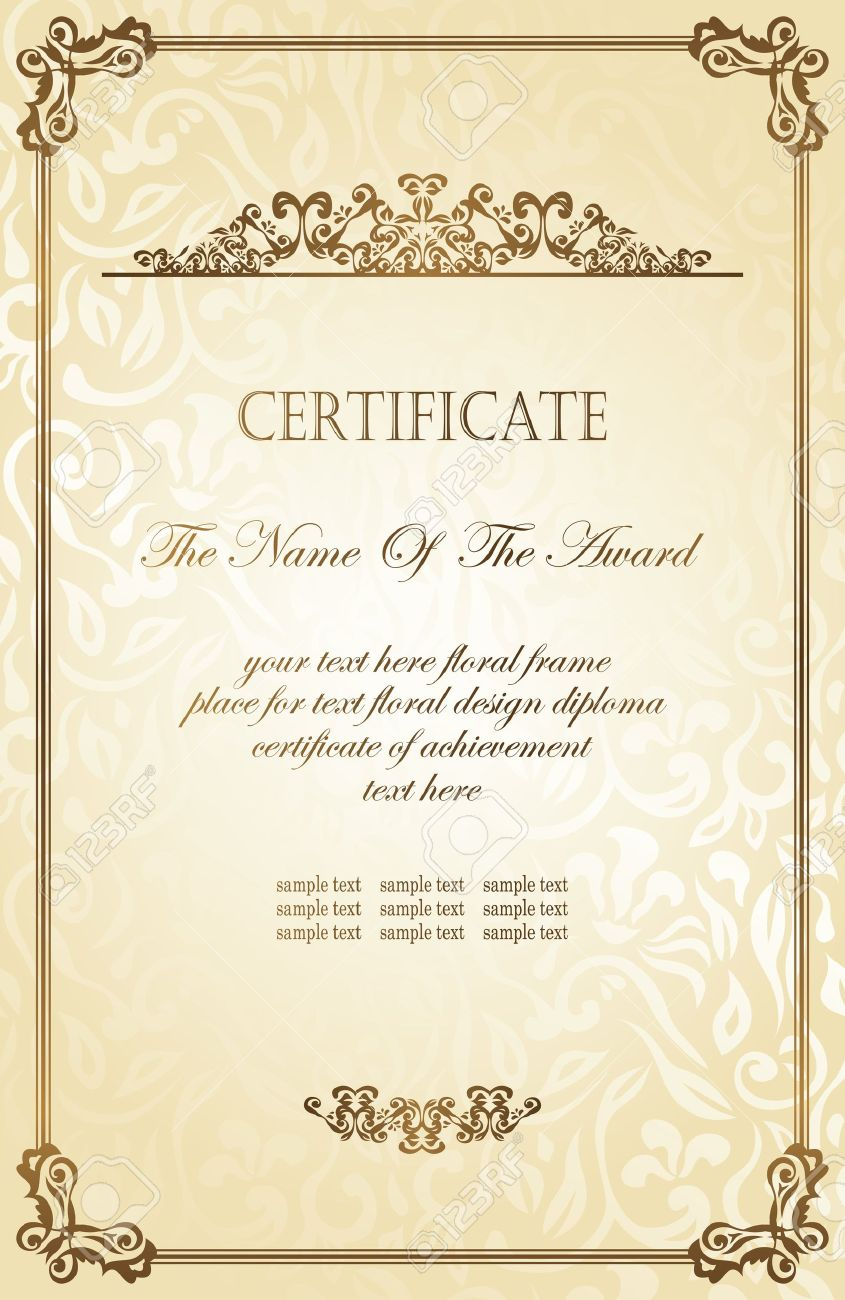 Sample Of Award Certificate Zrom