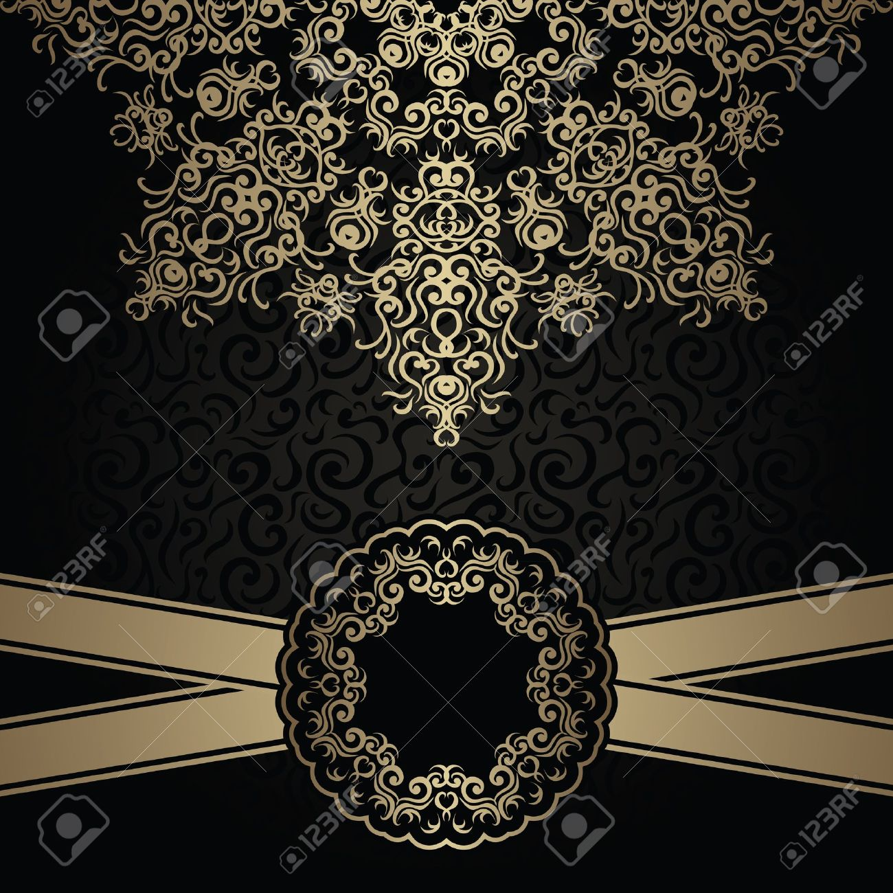 Vintage seamless background with a lace pattern and ribbon. Stylish design Stock Vector - 20200742