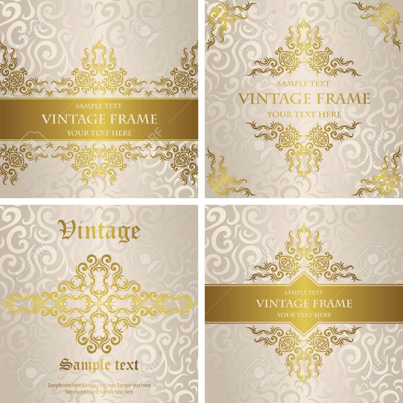 Vector Conjunto De Tarjetas Con Una Decoración De Oro Invitación Elegante De La Boda