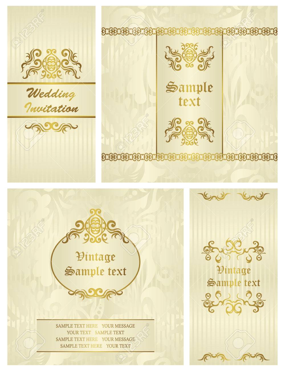 Set Of Wedding Invitations. Seamless Background In Pastel Colors ...