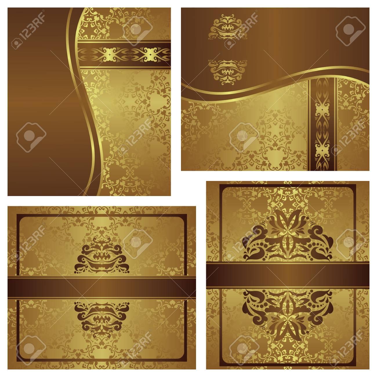Conjunto De Tarjetas Invitación Elegante De La Vendimia Diseño De Lujo