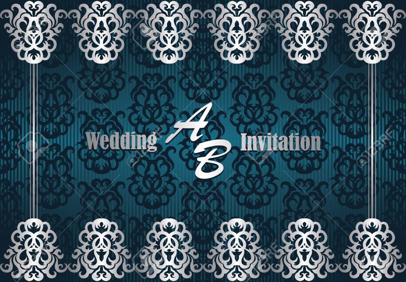 Wedding invitation with frame on seamless background royalty free vector wedding invitation with frame on seamless background stopboris Image collections