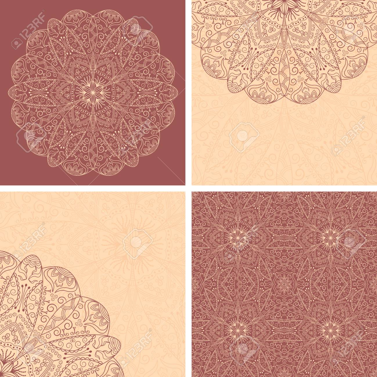 Set Of Lace Flower, Beauty Cards And Template Of Seamless Wallpaper ...