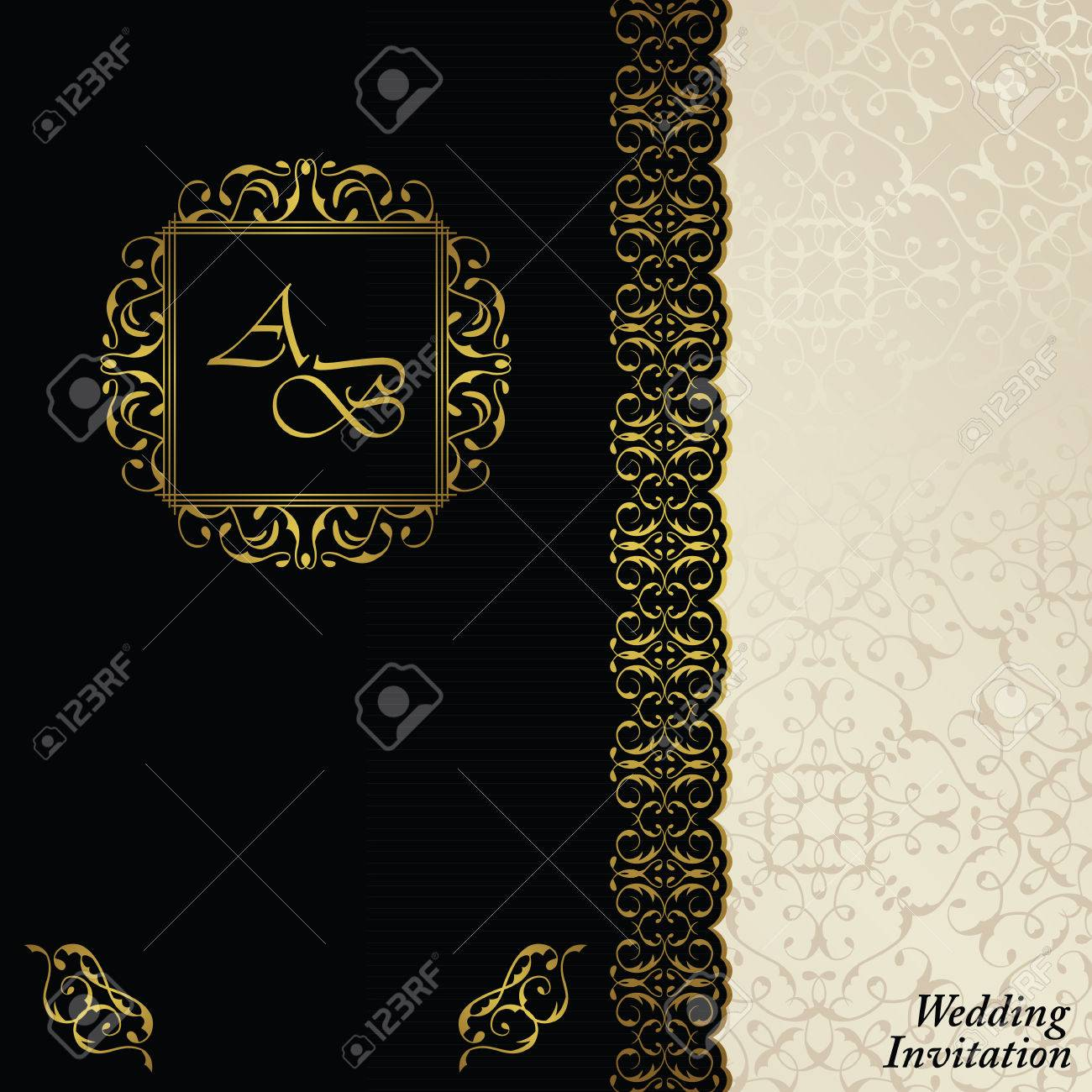Luxury background with antique vintage frame invitation card luxury background with antique vintage frame invitation card baroque style label black stopboris Image collections