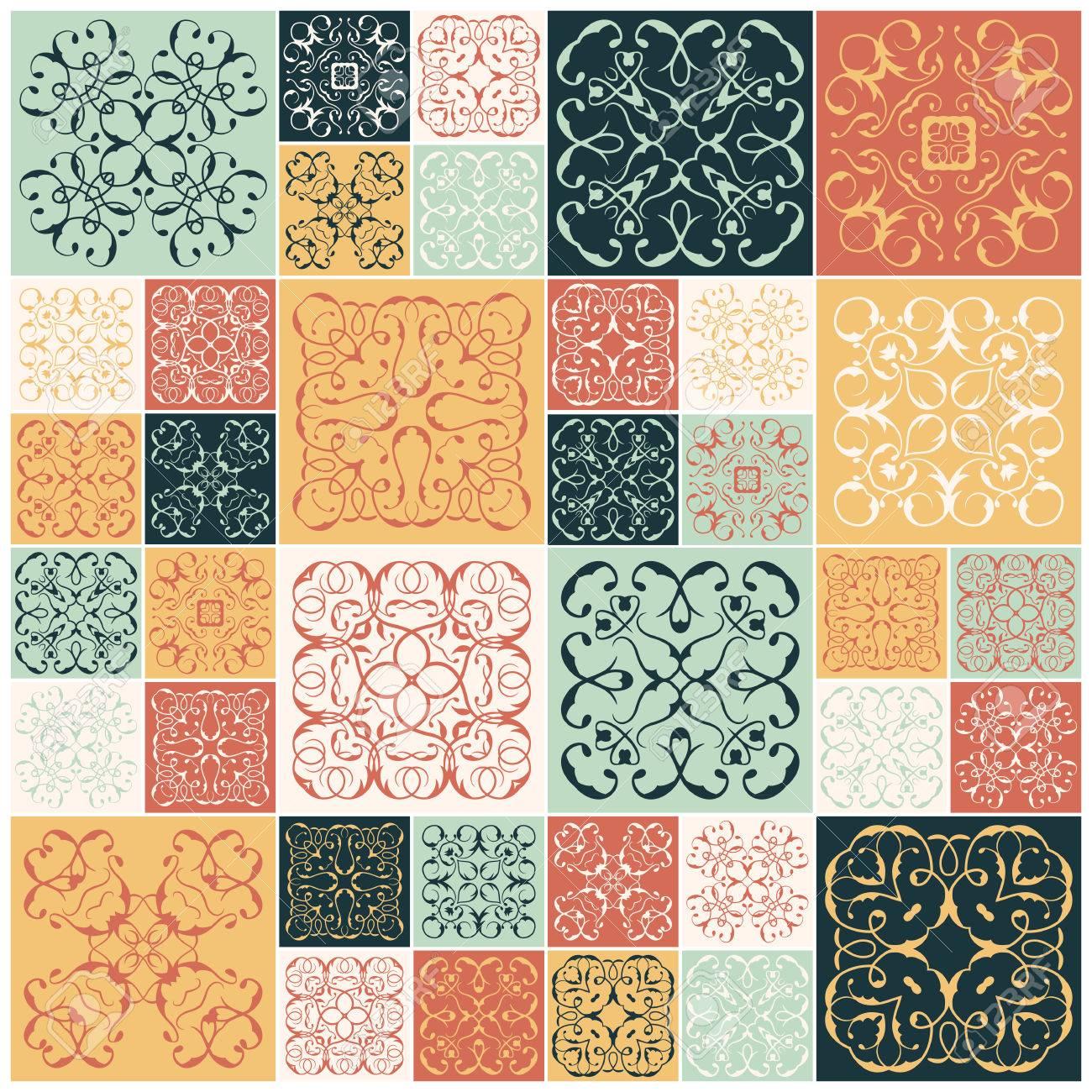 Conception De Patchwork Carreaux Colores Des Ornements Floraux