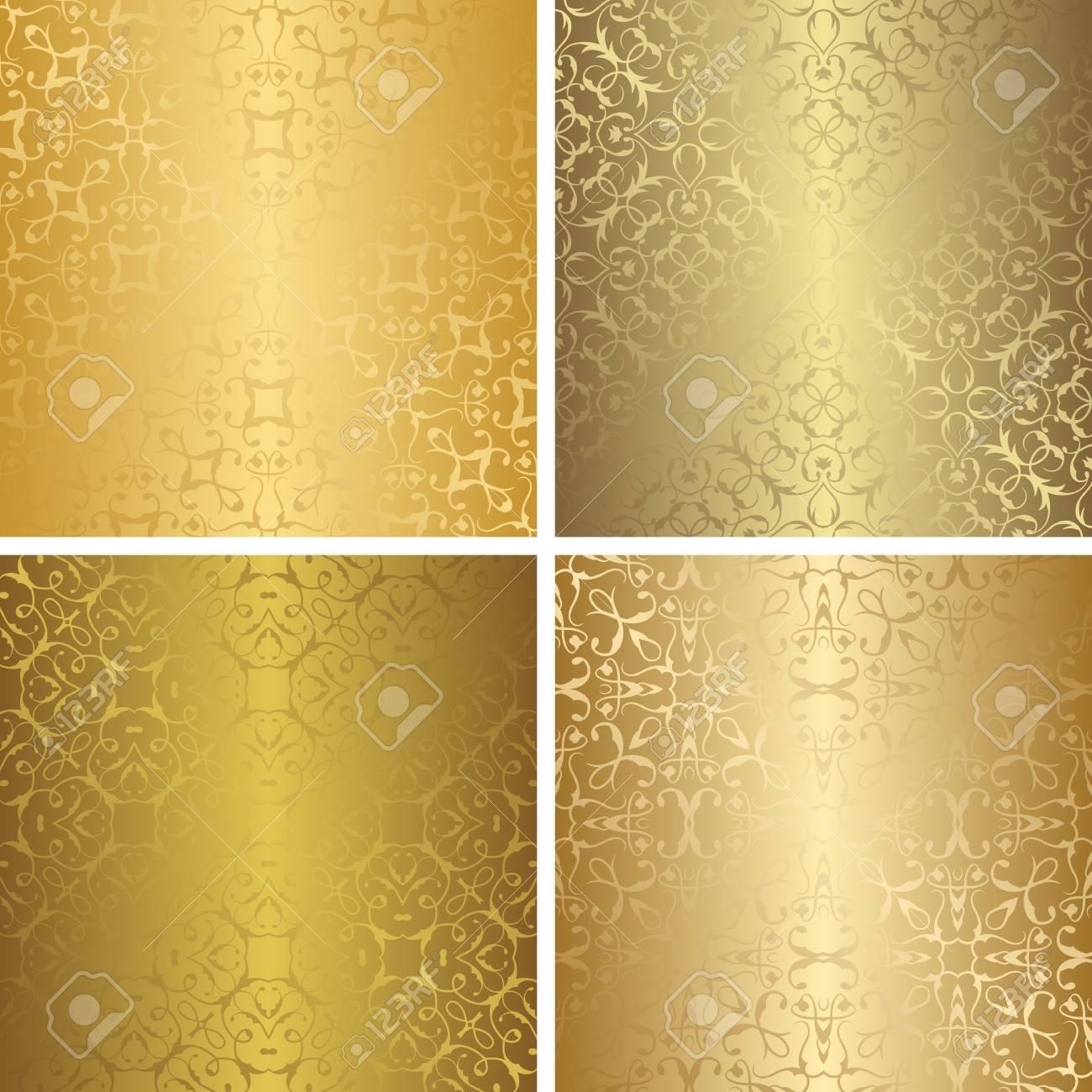 Set Of Luxury Seamless Patterns Vintage Design Retro Collection Golden Wallpaper Stock Vector