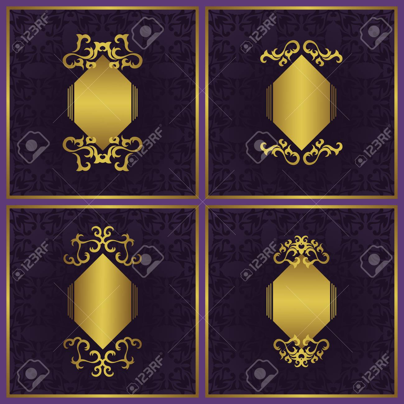 8dfc4584c00 Set of vector vintage cards with a beautiful gold frames on violet backgrounds  stock vector jpg