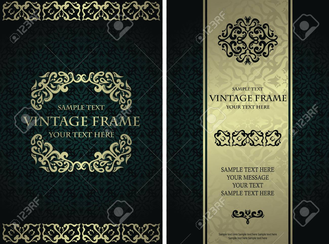 Vintage Design For Invitation Card Or Certificate Set Of Templates Royalty Free Cliparts Vectors And Stock Illustration Image 85353994