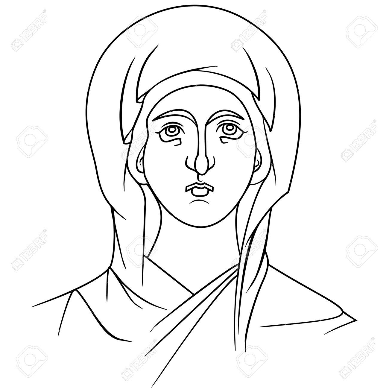 beautiful byzantine icon virgin deva divine outline art vector illustration mary madonna - 164182693