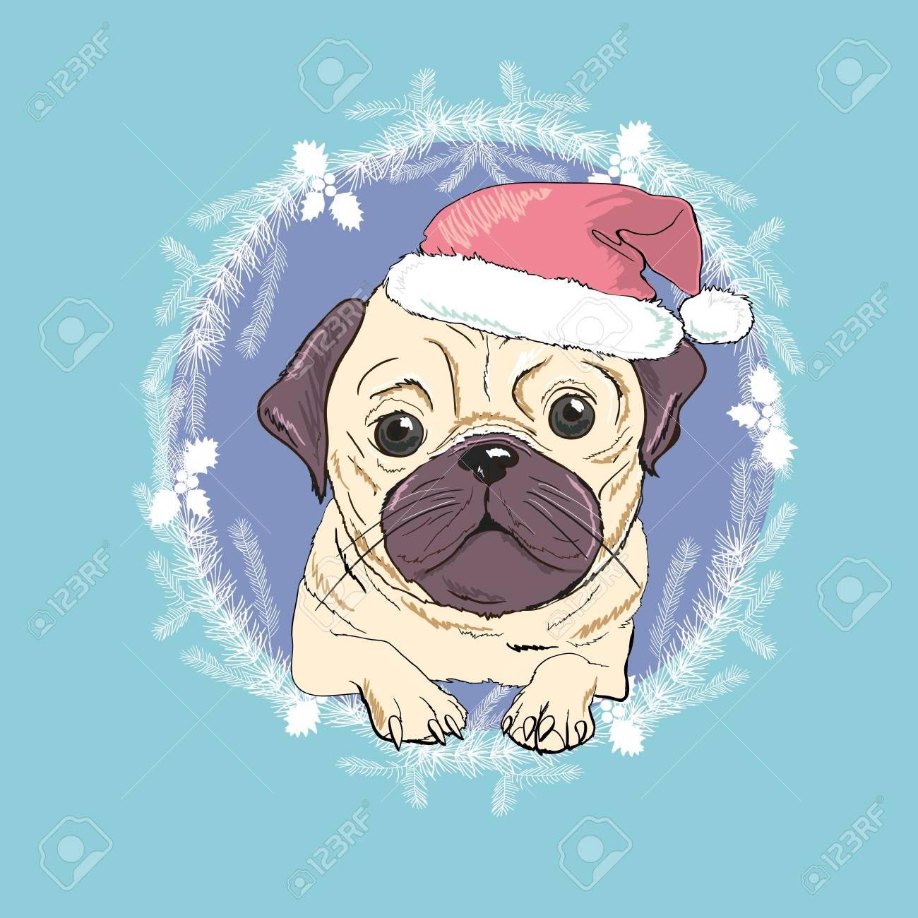Pug dog with red Santa's hat illustration. - 90150237