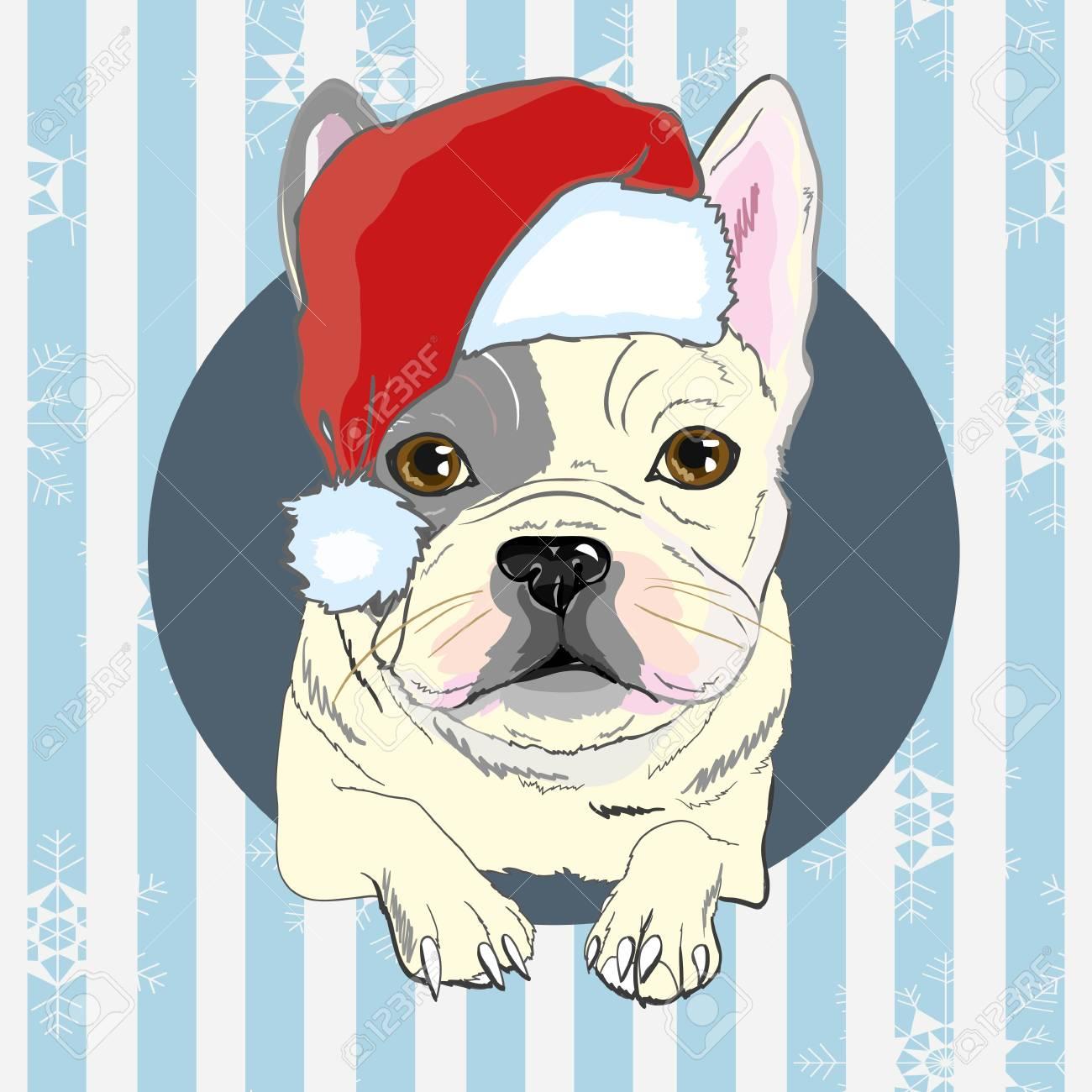 Christmas Greeting Card Pug Dog With Red Santa S Hat Dog