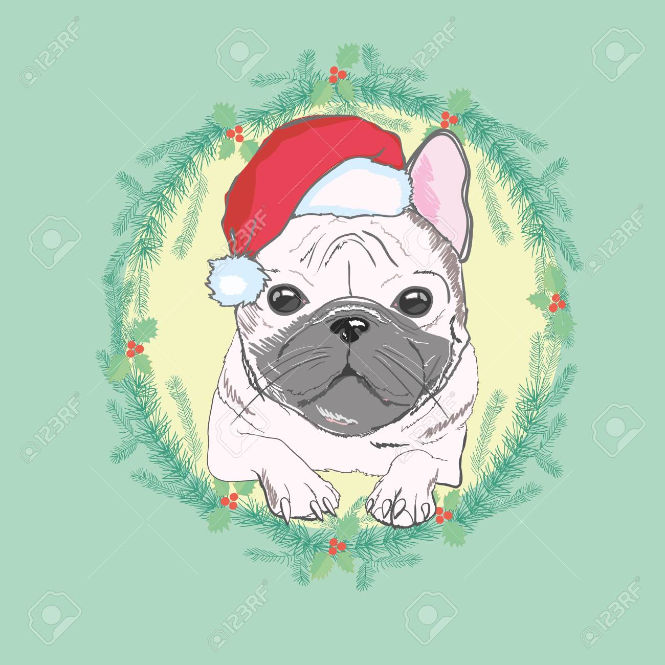 ae36360412c Christmas Greeting Card. Pug Dog With Red Santa S Hat.