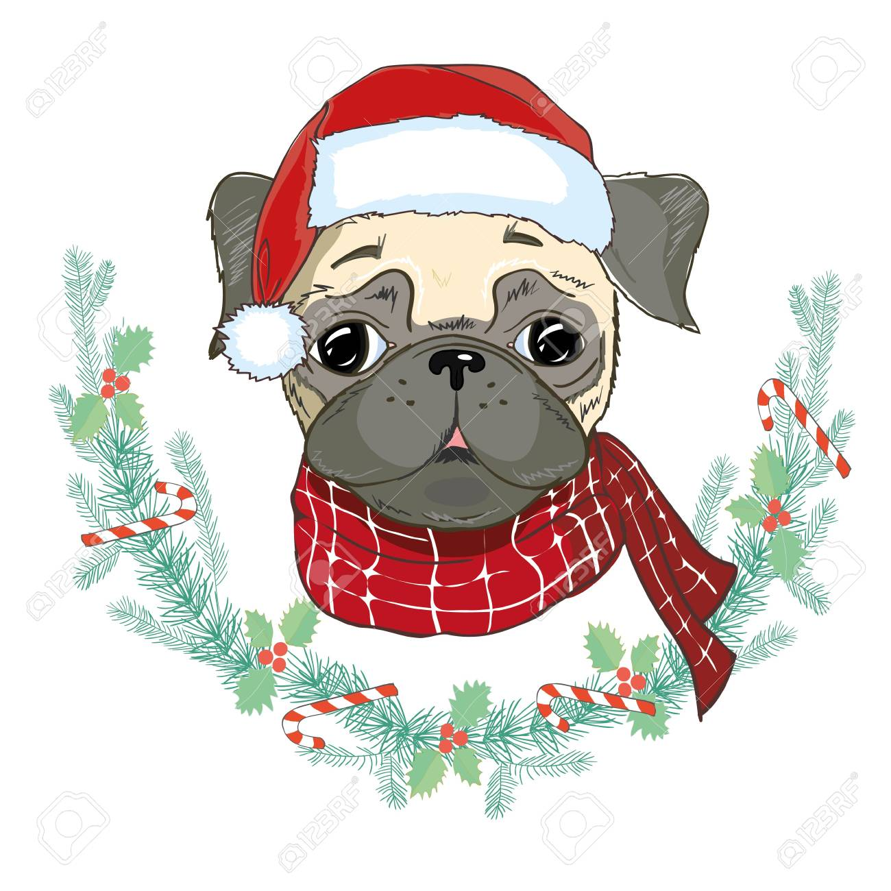 a98cff9065c Vector - Vector image of puppy pug in Santa s hat. Dog in Santa Claus s  clothes. Christmas pug card. Funny pug dog in a red Santa s cap.
