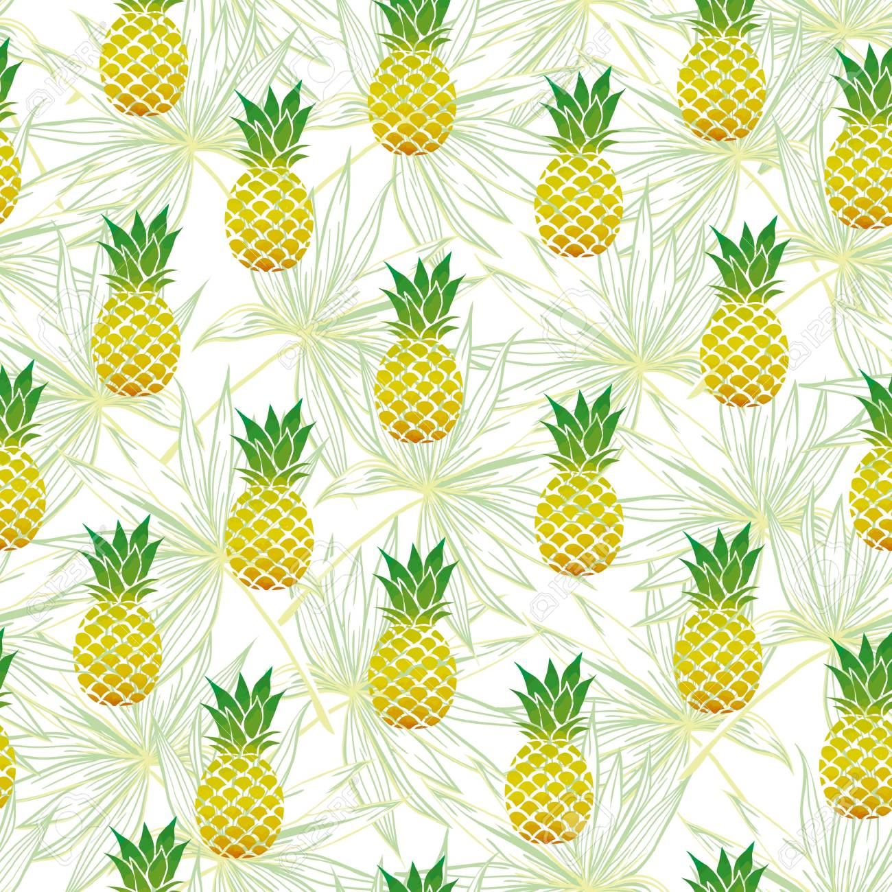 Vector Seamless Pattern with Pineapples - 95600789
