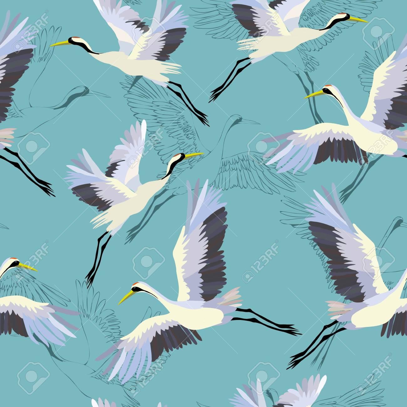 Crane pattern vector illustration - 96785106