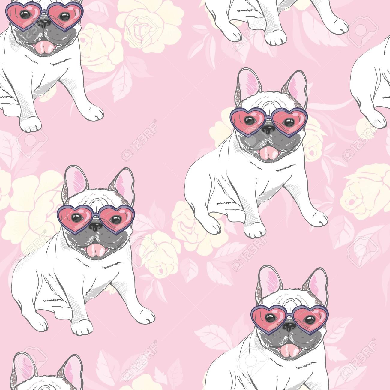 dog. french bulldog. heart sunglasses. glasses icon. illustration seamless pattern wallpaper background - 96717698