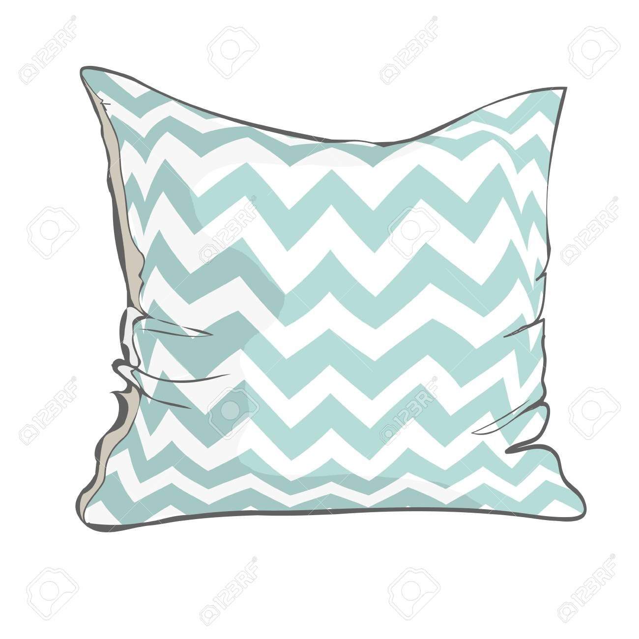 sketch vector illustration of pillow with white and blue geometric pattern. - 98615223