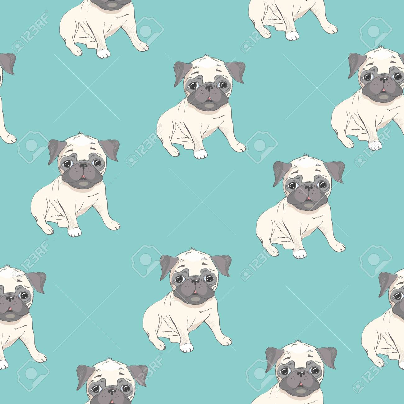 Vector Seamless Pattern With Cute Cartoon Dog Puppies Can Be
