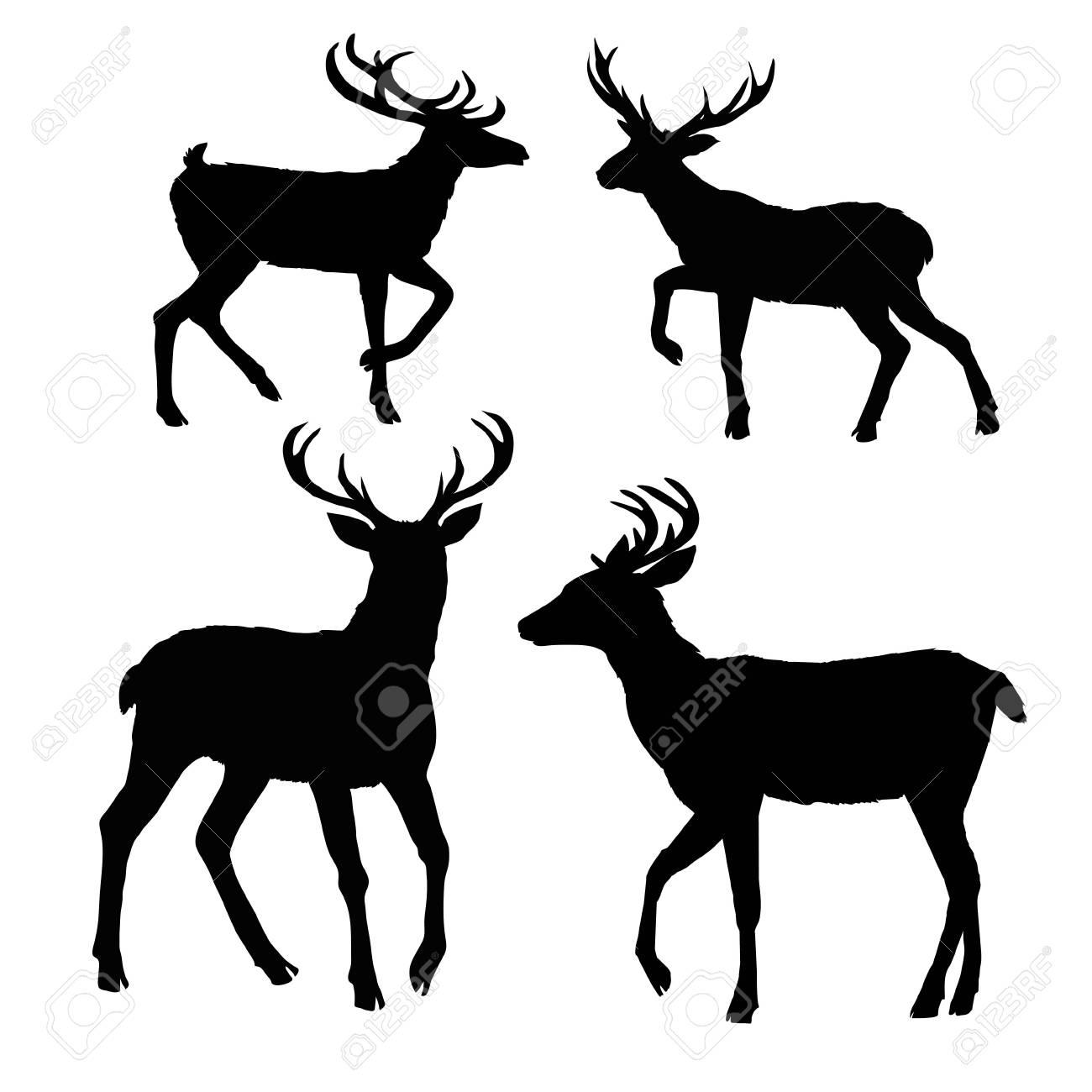 deer silhouette, vector, illustration, animal, black, nature - 102791877