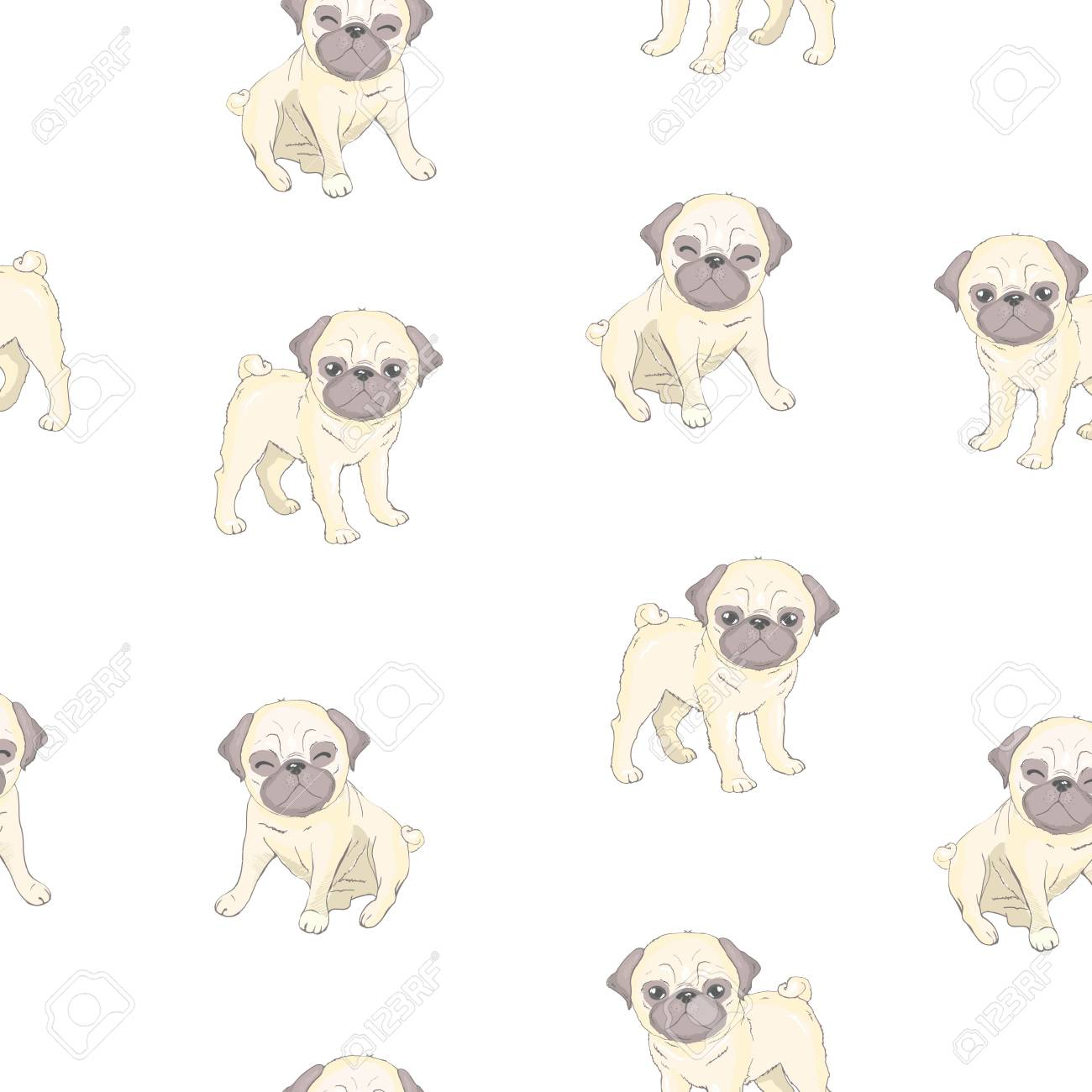 Vector Seamless Pattern With Cute Cartoon Dog Puppies Can Be Royalty Free Cliparts Vectors And Stock Illustration Image 104013680