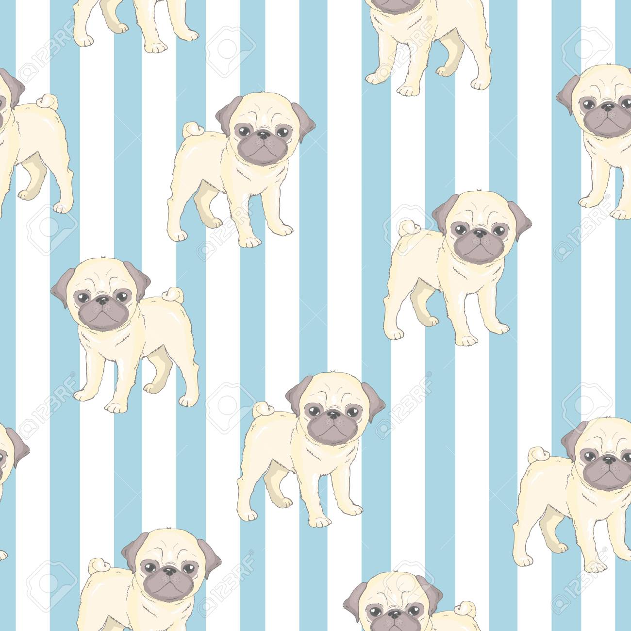 Vector Seamless Pattern With Cute Cartoon Dog Puppies Can Be Stock Photo Picture And Royalty Free Image Image 104014017