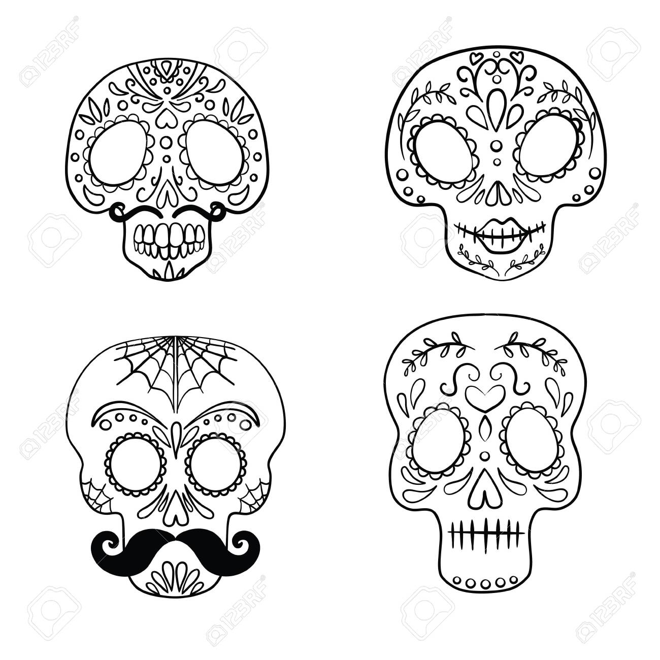 Sugar Skull Coloring Pages - GetColoringPages.com | 1300x1300