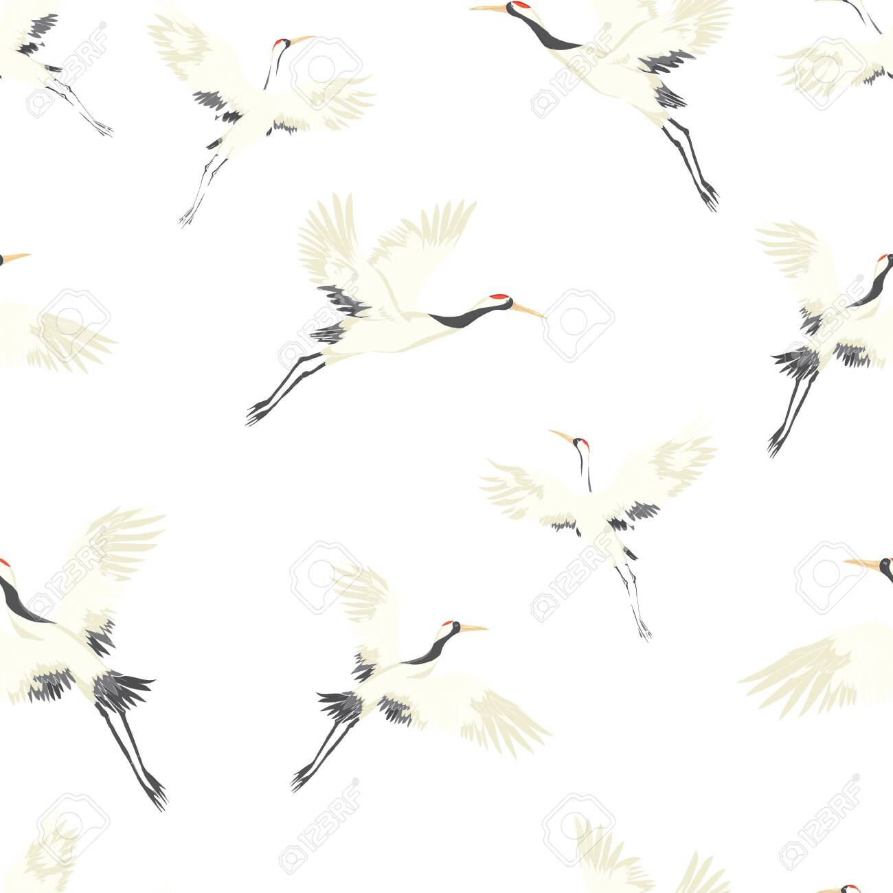 Seamless background, with Oriental motifs, cranes are flying, pattern vector illustration bird flower. Vector illustration. - 141013146