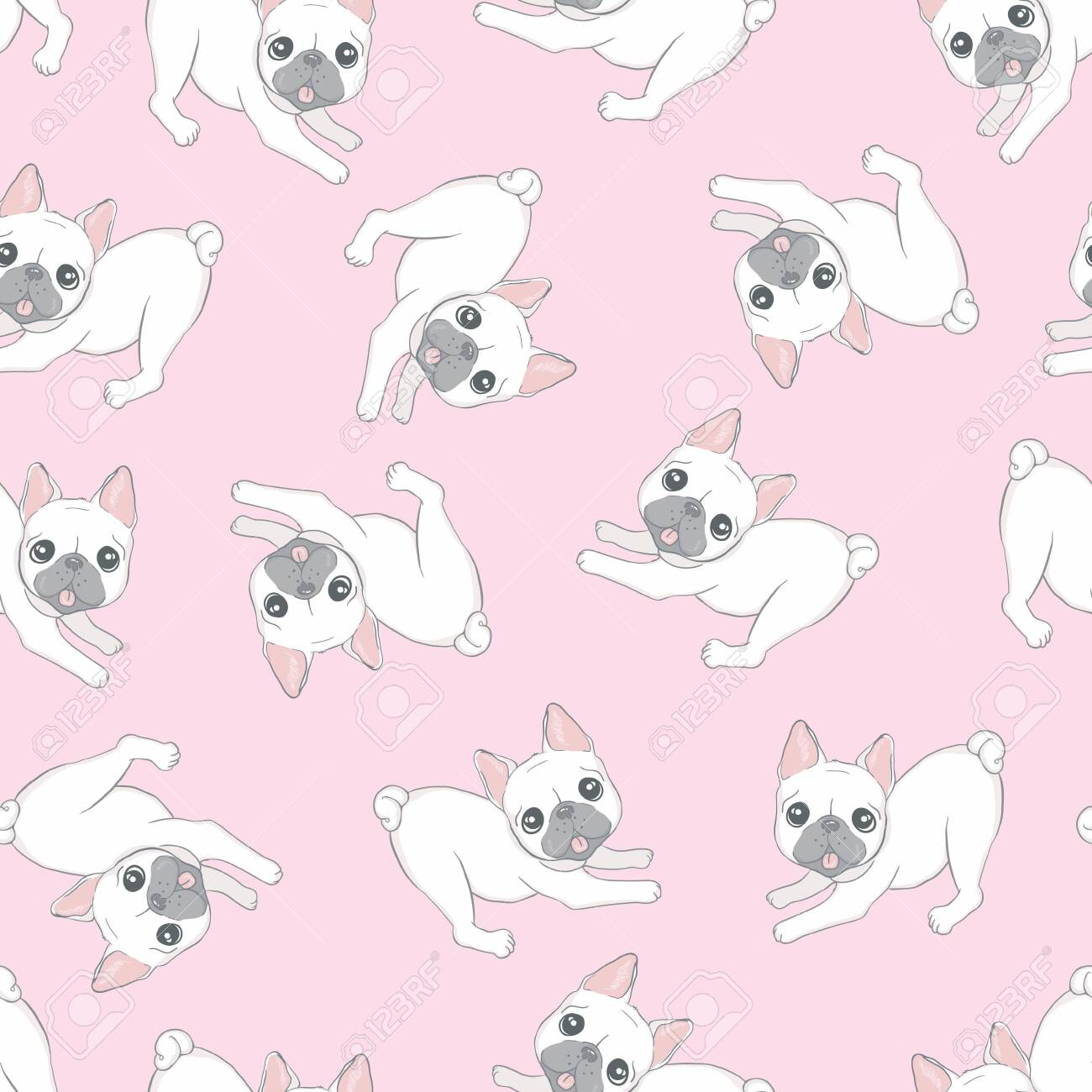 Seamless pattern with cute dogs. Background for fabric, textile design, wrapping paper or wallpaper. French bulldog - 143869707
