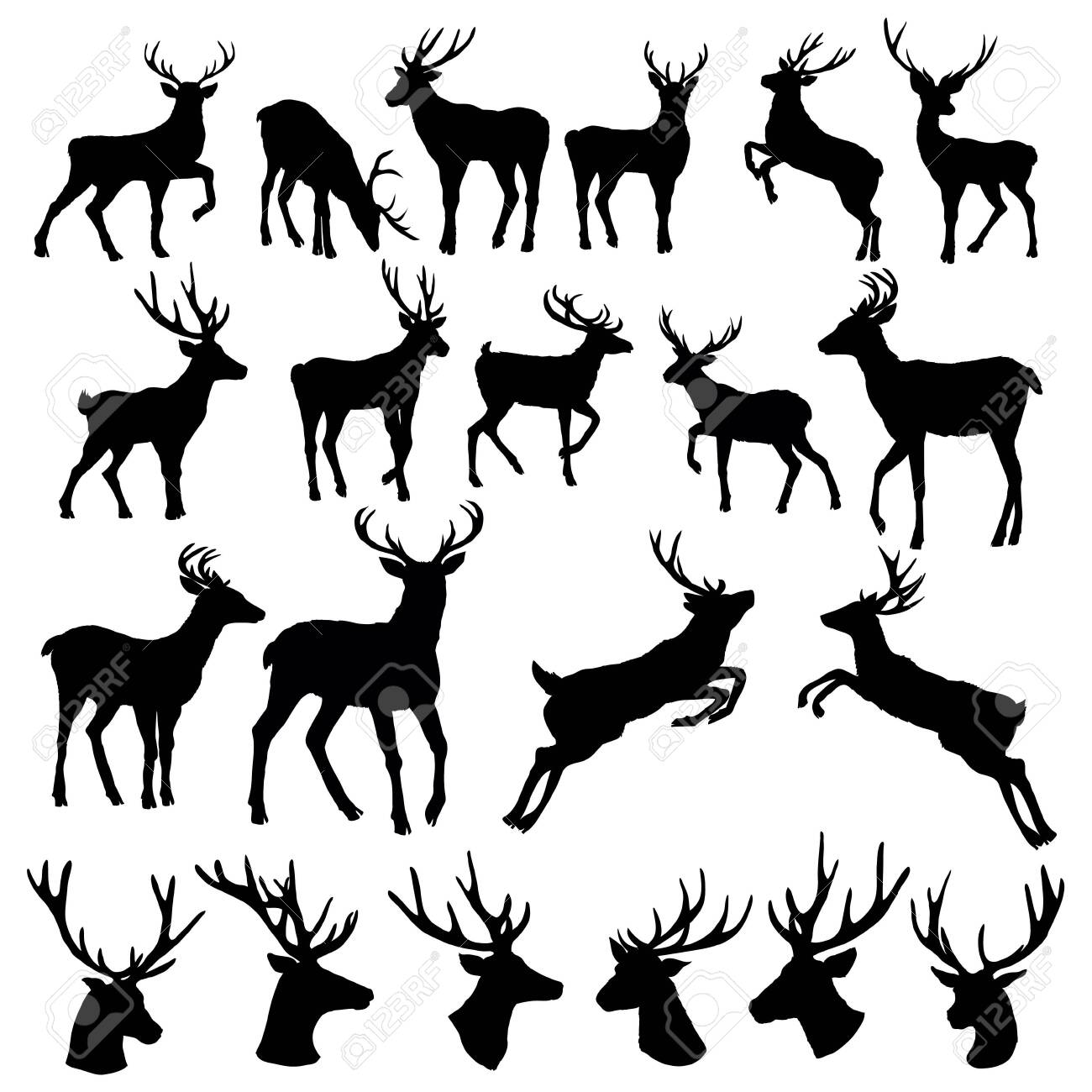 Set of a deer silhouette on white background - 146642612