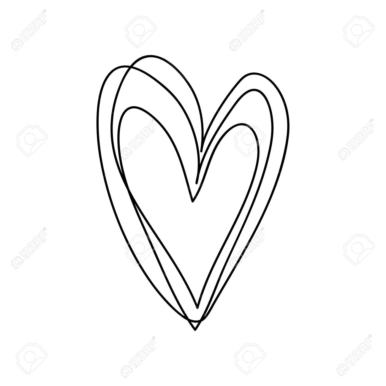 doodle hand drawn heart shaped on white background vector illustration. - 168290736