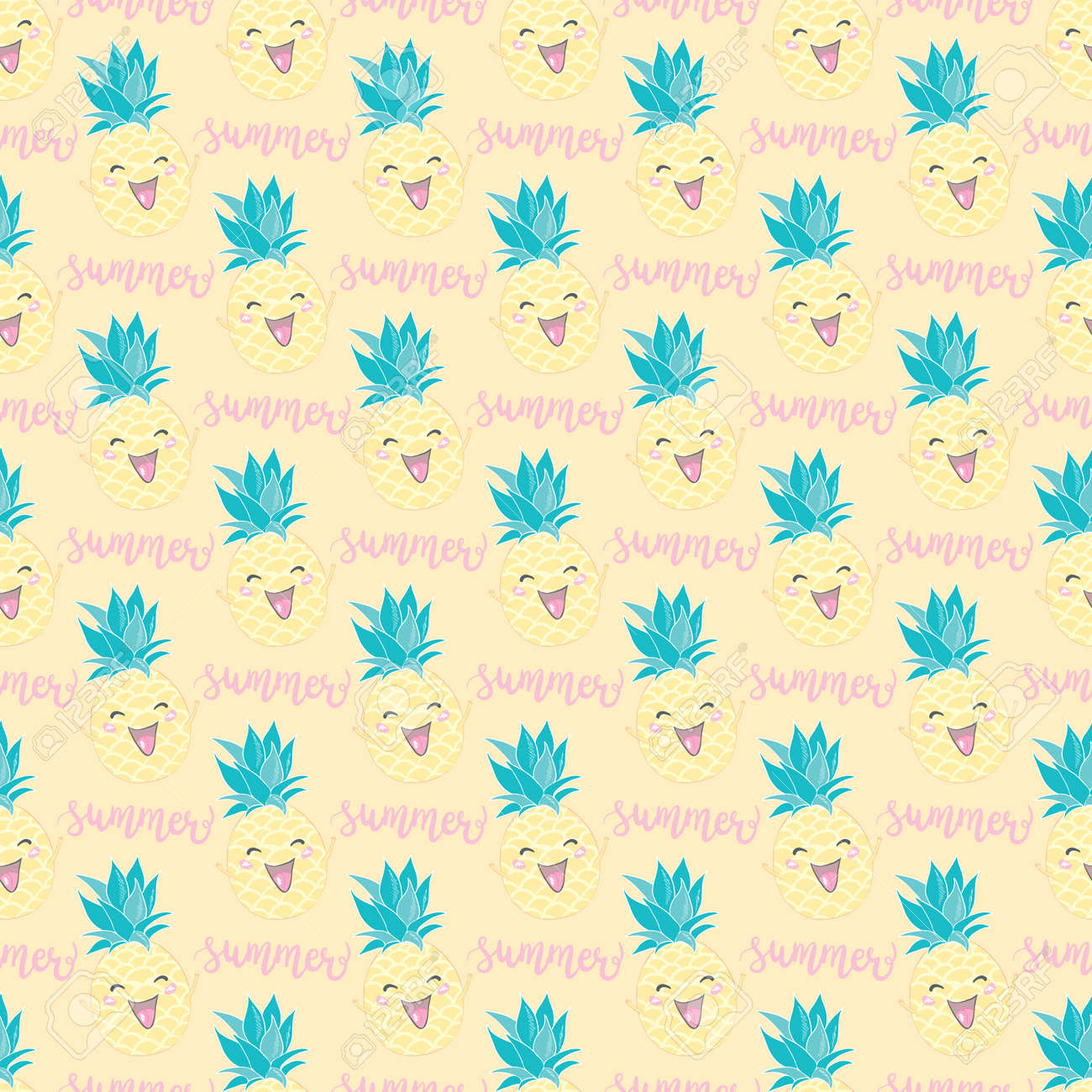 Simple cute seamless pattern with pineapples. Vector seamless pattern for kids. - 168290752