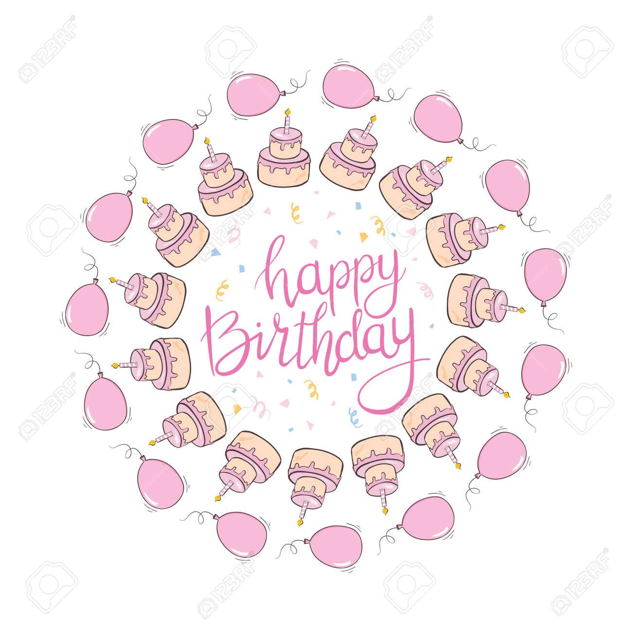 happy birthday girl greeting card. Creative Happy Birthday greeting background. Cake with Hand drawn ink brush stroke. Vector Illustration - 168290759