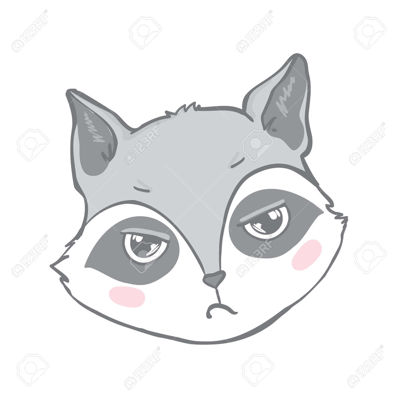 T shirt Print Design for Kids with Little Cute Raccoon. Scandinavian print or poster for Nursery Design, Baby shower Greeting Card. Cartoon Animal vector illustration. - 168290777