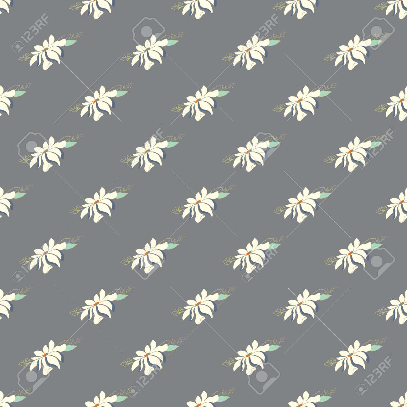 Seamless vector magnolia flower pattern. Delicate floral background on a gray background - 168290788