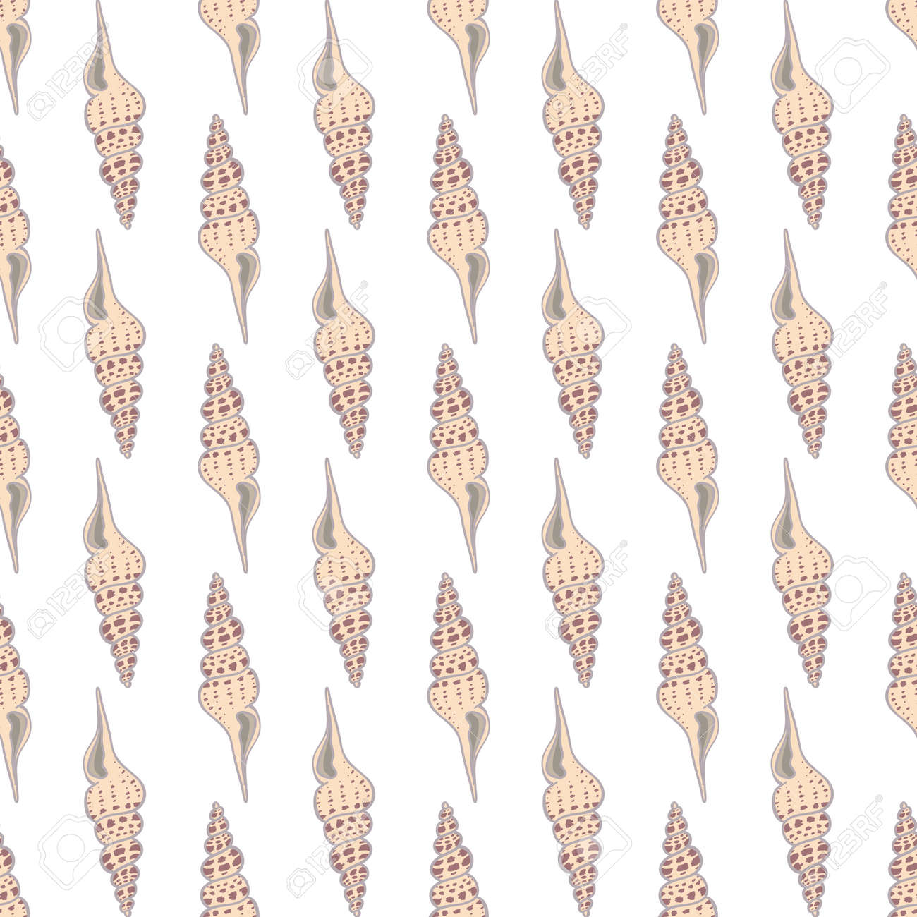 Seamless vintage pattern with seashells. Sea background. Vector illustration in the flat style. Perfect for greeting cards, invitations, wrapping paper, textiles, wedding design. - 168291123