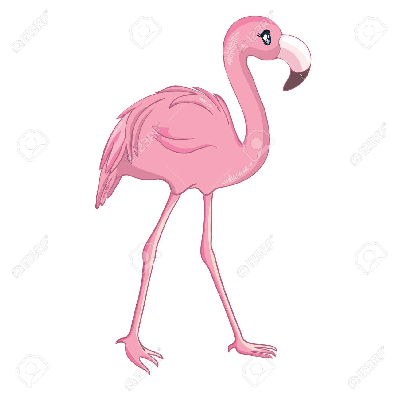 Cartoon flamingo isolated on white background. Vector illustration. - 168291125