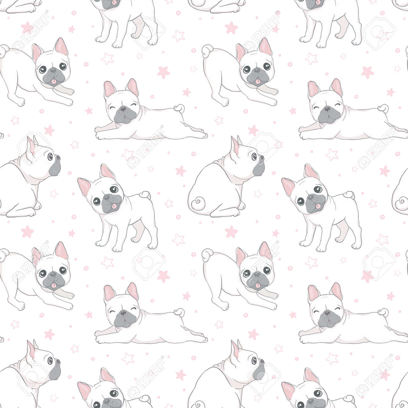 Seamless pattern with cute french bulldog on white background. Vector illustration. - 168291137