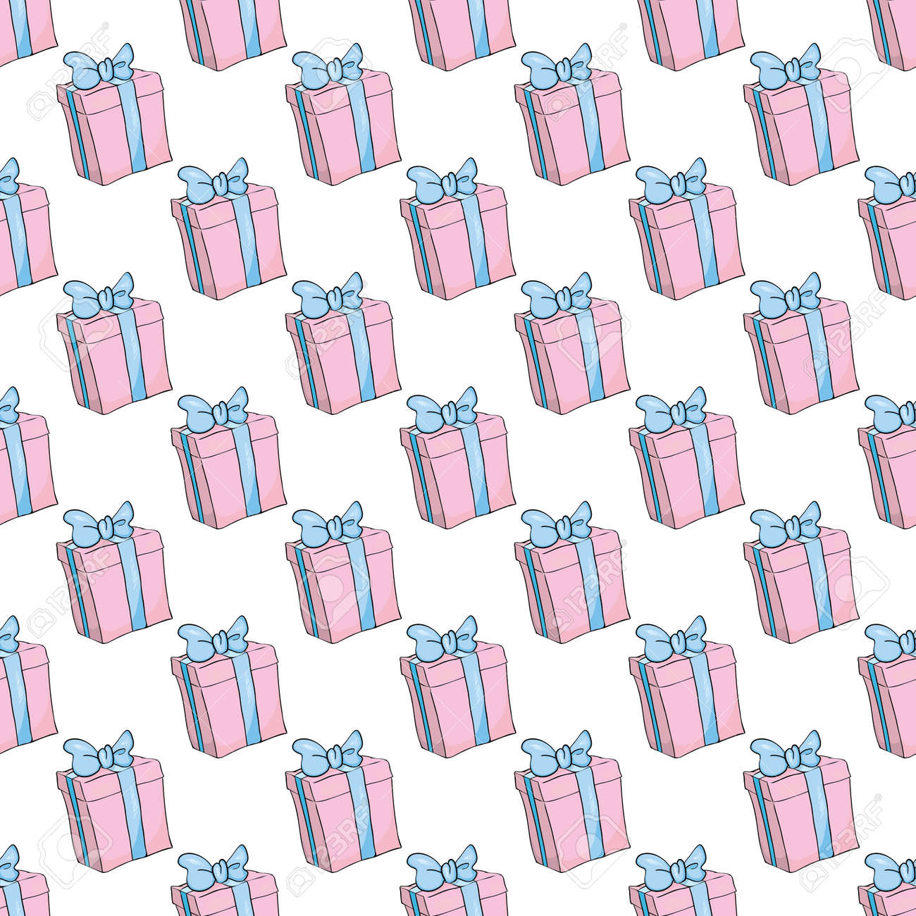 Party presents colorful seamless pattern with hearts and stars. Vector Illustration - 168291183
