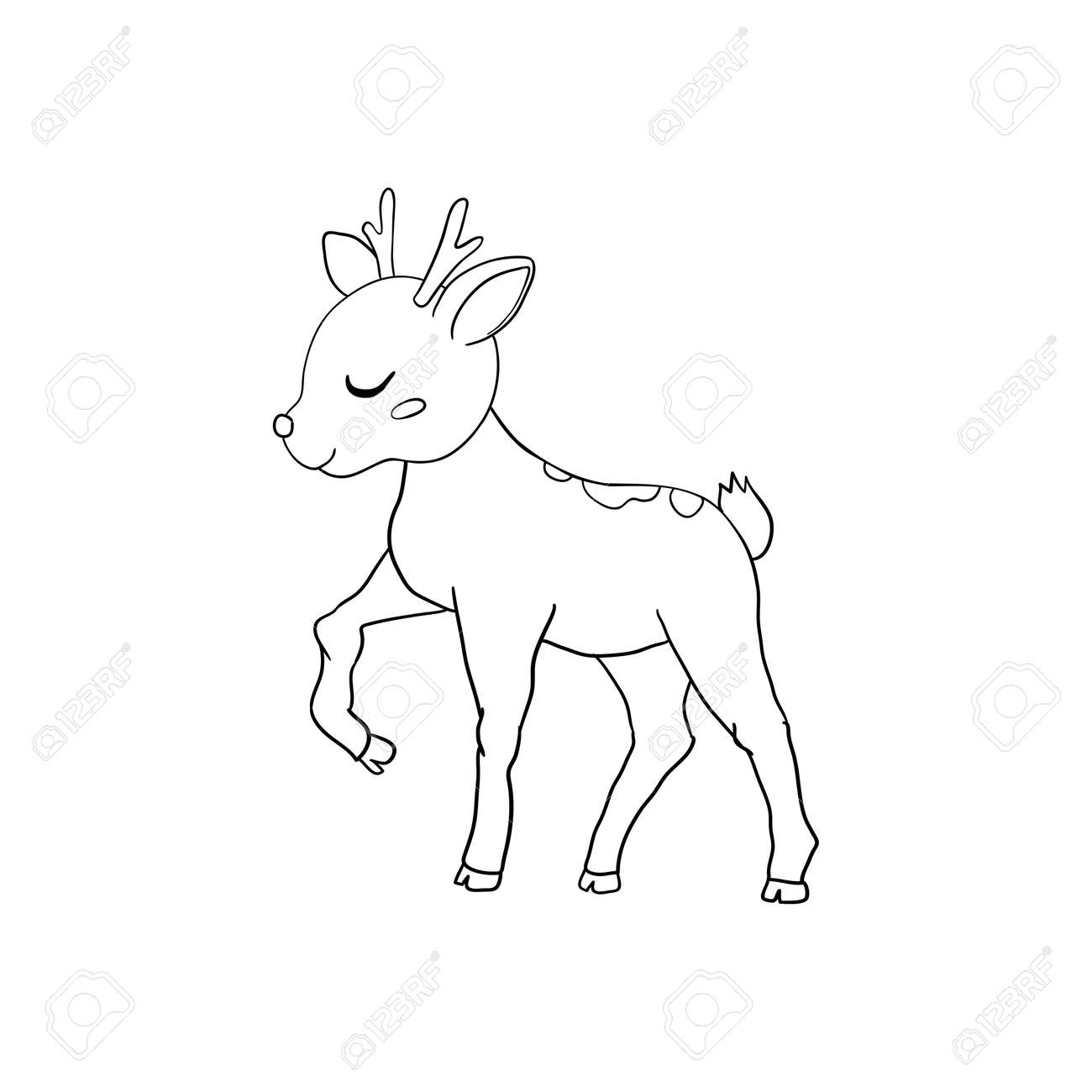 Hand-drawn Sketch of an Isolated Little Deer Black and White Cartoon Vector Illustration for Coloring Book-Drawn Vector - 168291269