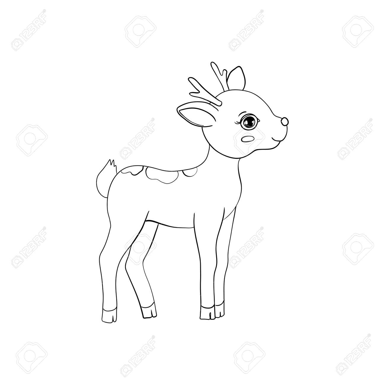 Hand-drawn Sketch of an Isolated Little Deer Black and White Cartoon Vector Illustration for Coloring Book-Drawn Vector - 168291310