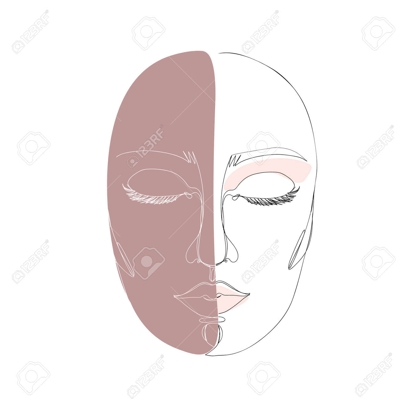 Abstract minimalistic linear sketch. Woman's face. Vector hand drawn illustration - 168291340