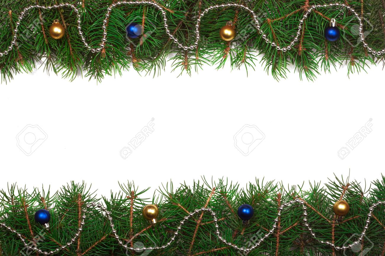 Christmas Frame Made Of Fir Branches Decorated With Balls Isolated Stock Photo Picture And Royalty Free Image Image 67097358