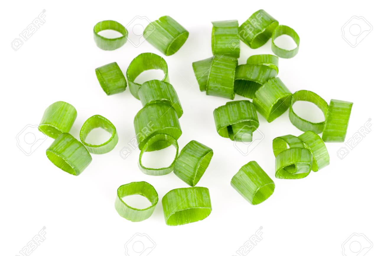 Chopped fresh green onions isolated on white background. Top view - 78631475