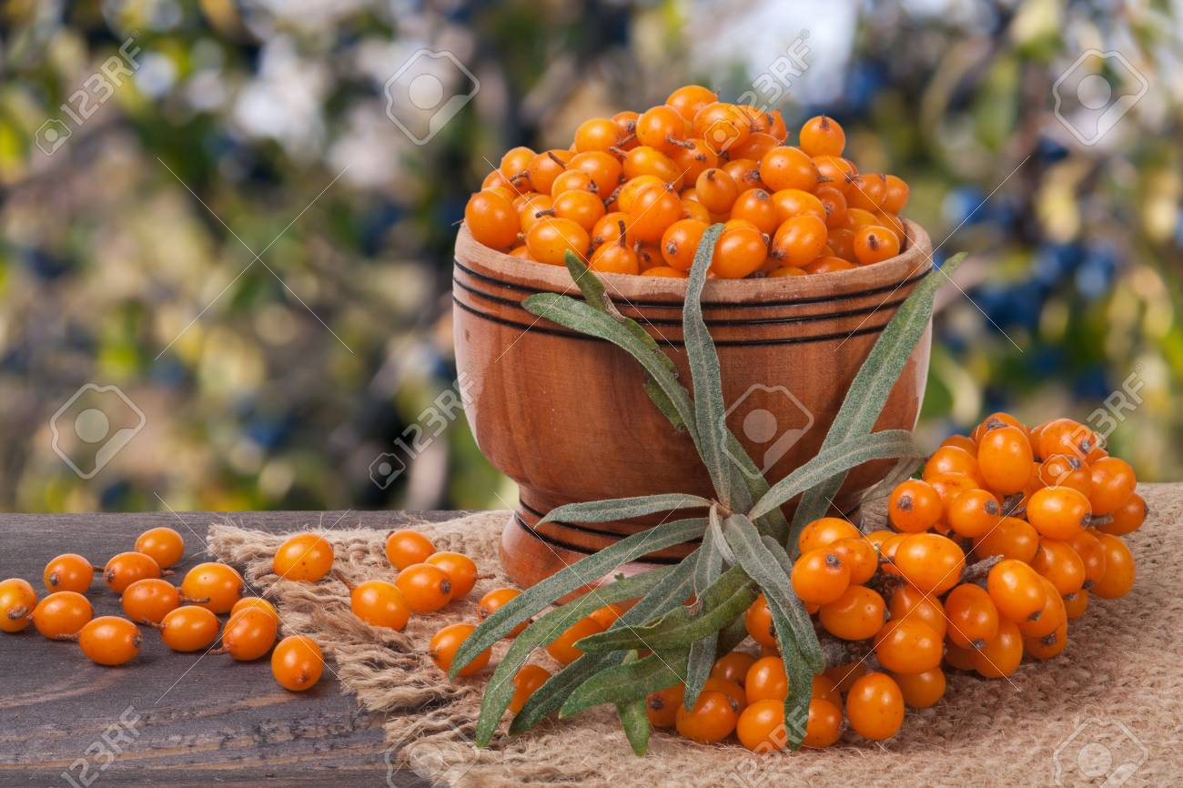 Sea-buckthorn Berries In A Wooden Bowl On Table With Blurred.. Stock ...
