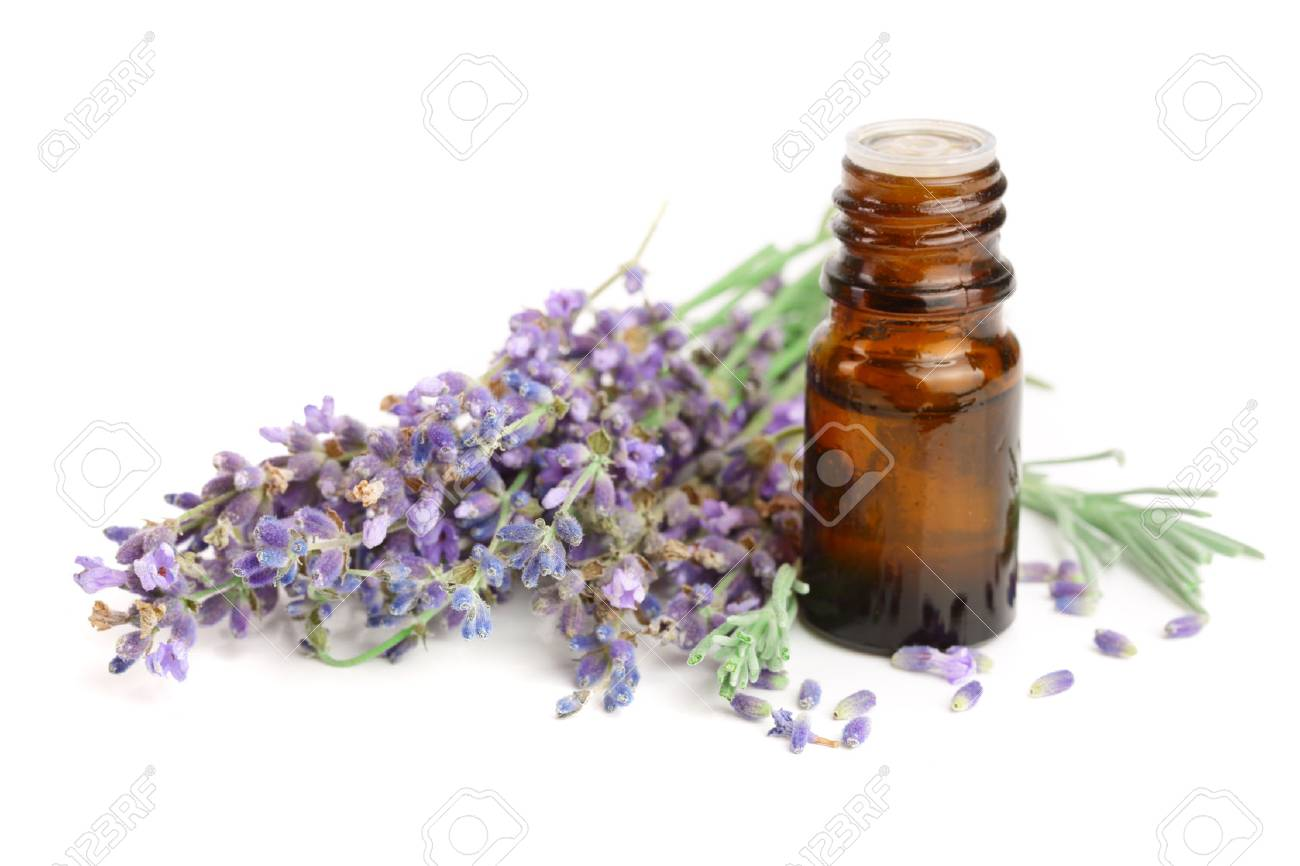 Bottle with aroma oil and lavender flowers isolated on white background - 89122585
