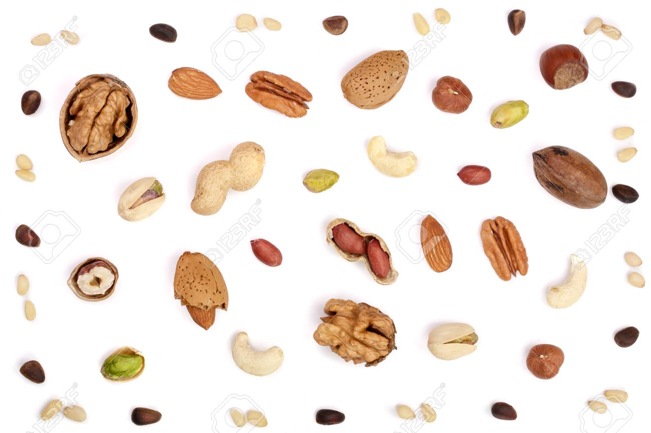 mix of different nuts isolated on white background, Flat lay pattern, Top view - 90044206